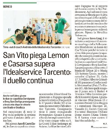 L'articolo del Messaggero Veneto sull'ultima partita dell'IdealService Tarcento Basket