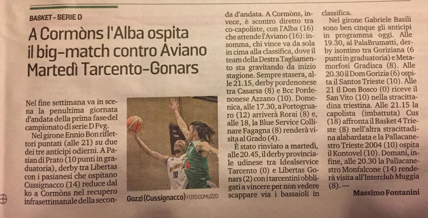 messaggero tarcento basket